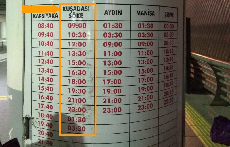 Автобус Хаваш в аэропорту Измир расписание. Фото