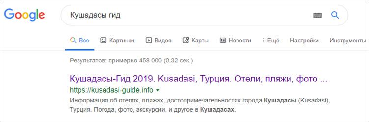 Кушадасы Гид позиции в Гугле