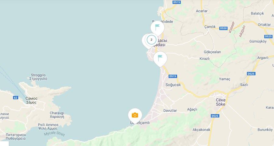 Пляжи Кушадасы на карте
