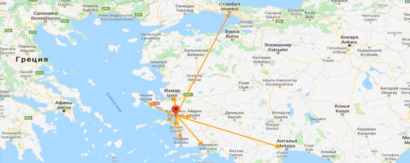 Удобное географическое положение в Кушадасах на карте